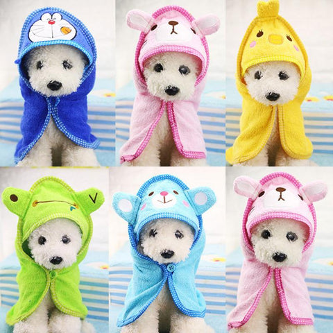 Cute Pet Dog Towel Soft Drying Bath Pet Towel For Dog Cat Hoodies Puppy Super Absorbent Bathrobes Cleaning Necessary supply - dog lovers