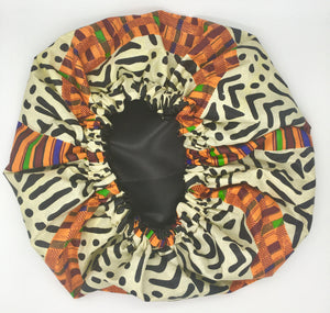 Medium Satin-Lined Bonnet: Multicolored African Print