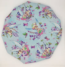 Load image into Gallery viewer, Kids Satin-Lined Bonnet: TinkerBell w/ Blue Background