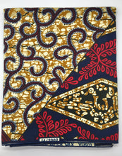Load image into Gallery viewer, Head Wrap: Gold, Navy Blue, and Red