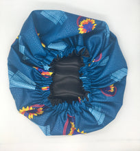 Load image into Gallery viewer, Medium Satin-Lined Bonnet: Flower Print 2- Red, Yellow, Blue