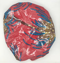 Load image into Gallery viewer, Satin-Lined Shower Cap: Palm Tree Print