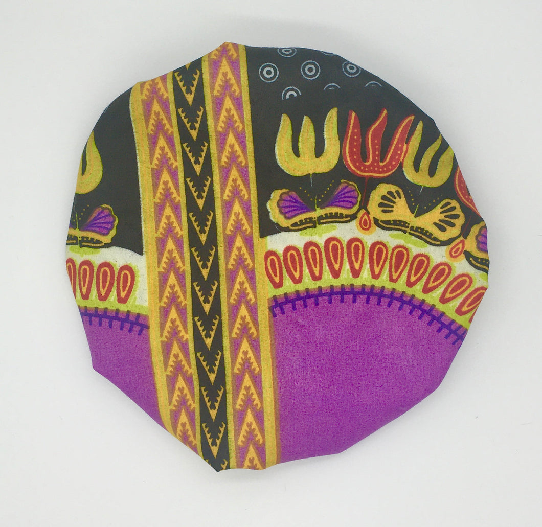 Baby Satin-Lined Bonnet: Purple Tribal Print