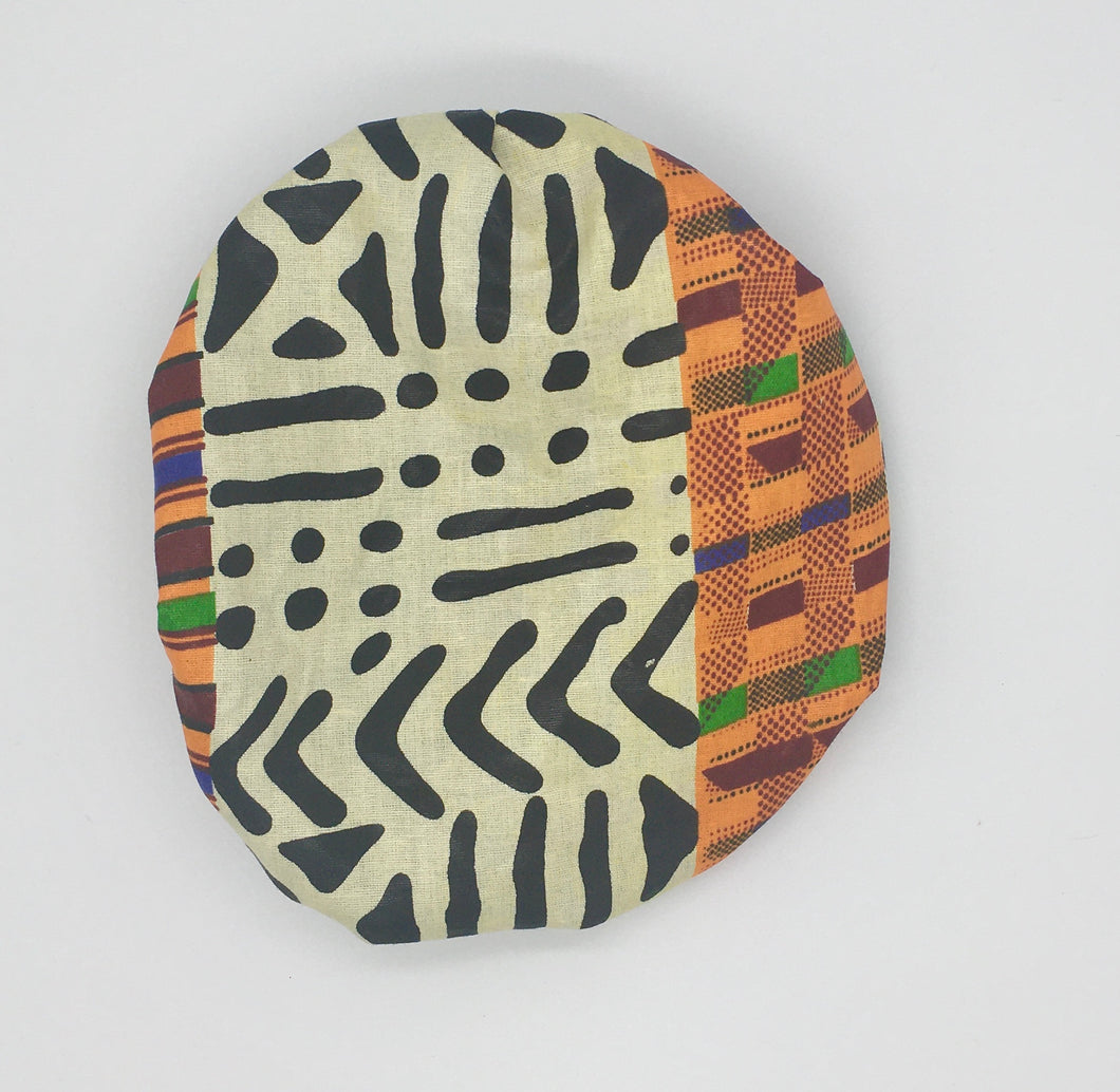 Baby Satin-Lined Bonnet: Black and White - Multicolored Strips