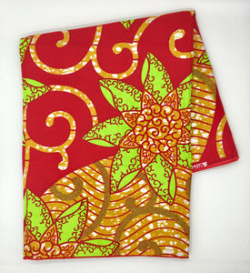 Head Wrap: Red, Lime Green, and Gold Flowers