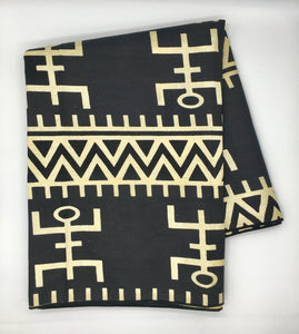 Head Wrap: Black and White Tribal Print