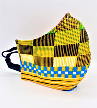 Load image into Gallery viewer, Checkered Yellow: Contoured Adult Face Masks (One Size Fits Most; Ages 11+)
