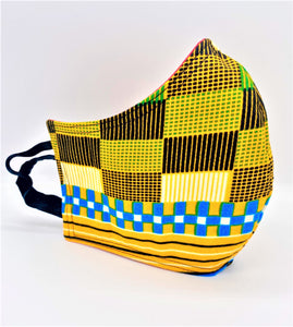 Checkered Yellow: Contoured Adult Face Masks (One Size Fits Most; Ages 11+)