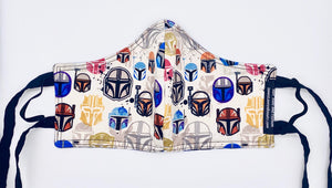 Mandalorian Helmets Licensed Print: Contoured Adult Face Masks (One Size Fits Most; Ages 11+)