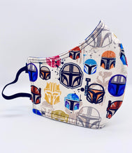 Load image into Gallery viewer, Mandalorian Helmets Licensed Print: Contoured Adult Face Masks (One Size Fits Most; Ages 11+)