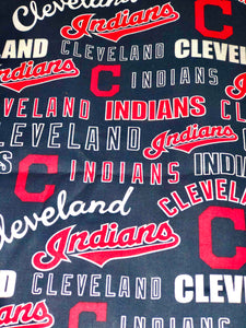 Licensed Print - Cleveland Indians Blue Background: Rectangle Adult Face Masks (One Size Fits Most; Ages 11+)