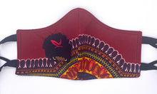 Load image into Gallery viewer, Dashiki Red: Contoured Adult Face Masks (One Size Fits Most; Ages 11+)