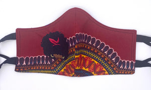 Dashiki Red: Contoured Adult Face Masks (One Size Fits Most; Ages 11+)