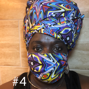 Mixed African Prints - 10 Patterns: Rectangle Adult Face Masks (One Size Fits Most; Ages 11+)