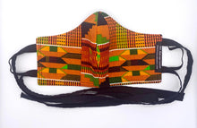 Load image into Gallery viewer, Traditional Kente - Orange and Black: Contoured Adult Face Masks (One Size Fits Most; Ages 11+)