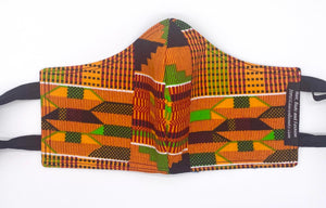 Traditional Kente - Orange and Black: Contoured Adult Face Masks (One Size Fits Most; Ages 11+)