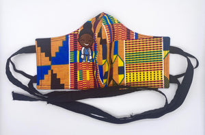 Traditional Kente - Blue, Green, and Yellow: Contoured Adult Face Masks (One Size Fits Most; Ages 11+)