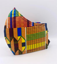 Load image into Gallery viewer, Traditional Kente - Blue, Green, and Yellow: Contoured Adult Face Masks (One Size Fits Most; Ages 11+)