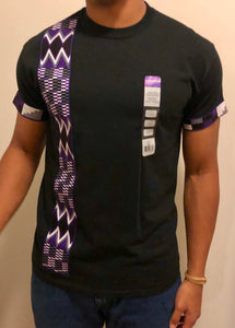 Men's Purple Stripe: Black T-Shirt
