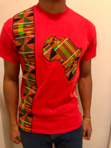 Men's Africa Cut Out and Stripe: Red T-shirt