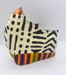 Multicolored African Print: Contoured Adult Face Masks (One Size Fits Most; Ages 11+)