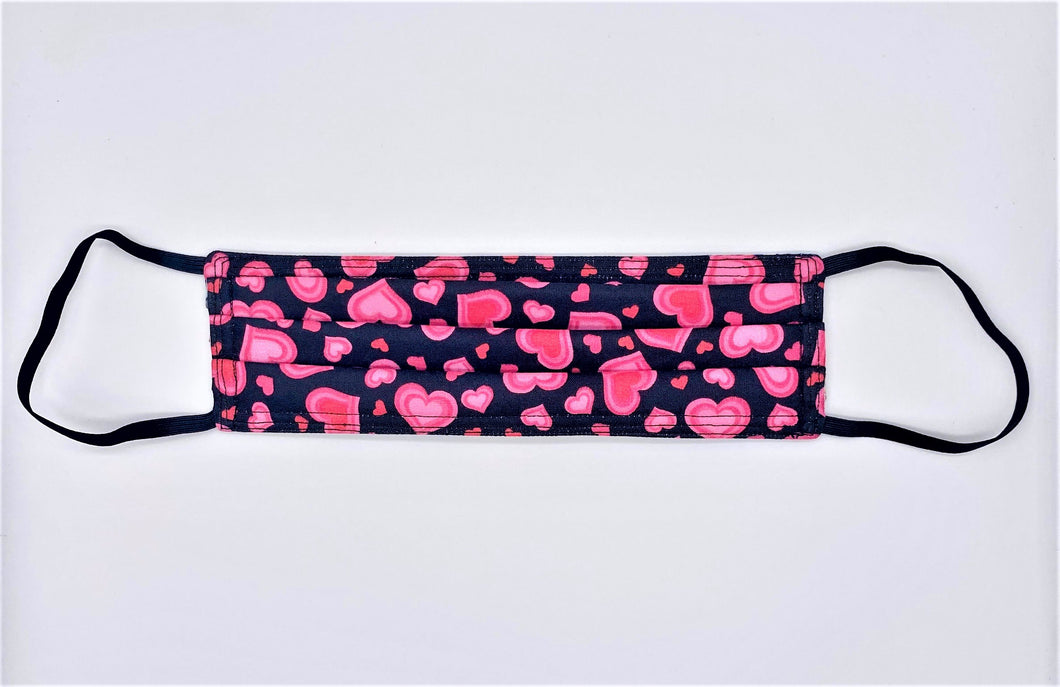 Pink Hearts: Rectangle Adult Face Masks (One Size Fits Most; Ages 11+)