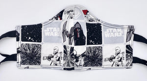 Licensed Print - Star Wars White: Contoured Adult Face Masks (One Size Fits Most; Ages 11+)