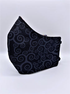 Black Swirls: Contoured Adult Face Masks (One Size Fits Most; Ages 11+)