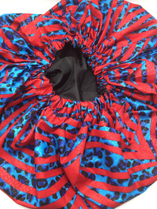 Medium Satin-Lined Bonnet: Red and Blue