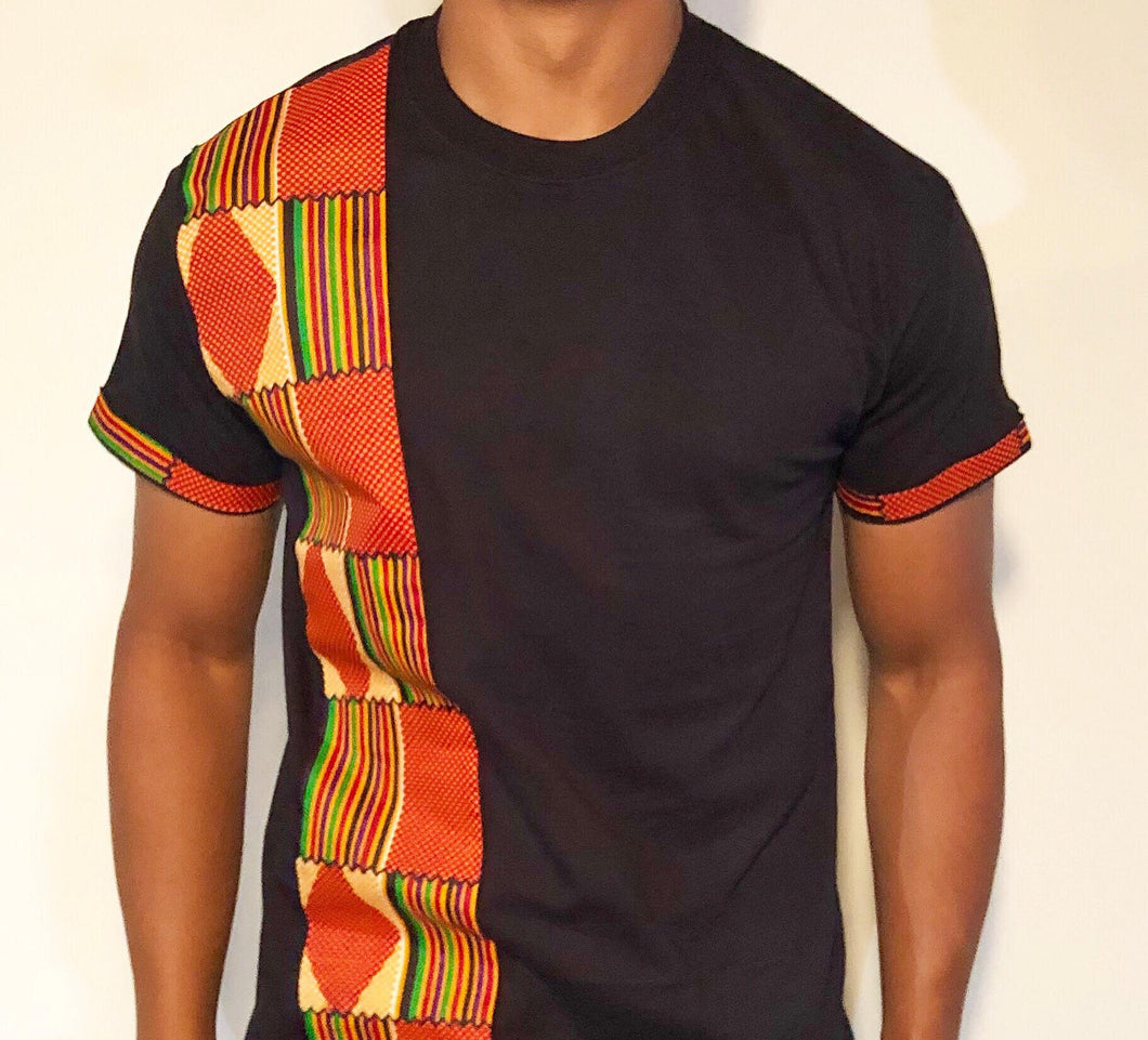 Men's Kente Orange: Black T-Shirt