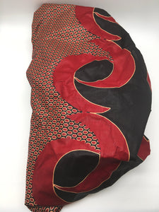 Medium Satin-Lined Bonnet: Black and Red