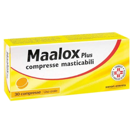 MAALOX PLUS*30 cpr mast 200 mg + 200 mg + 25 mg