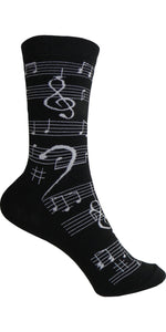 Music Note Crew Length Socks - Men's Size