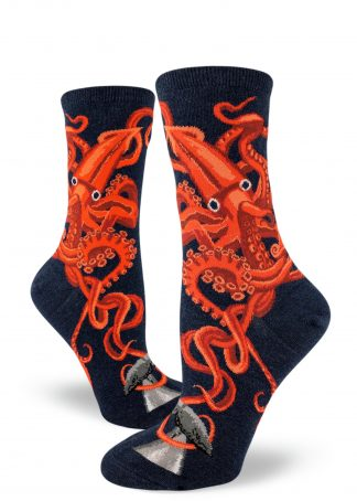 Squid and Whale Crew Length Socks - Women's Size