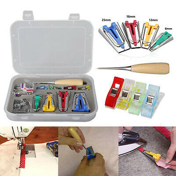 Sewing Quilting Awl and Binder Foot Case Tool 60 Bias Tape Maker Kit