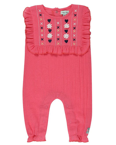 Lilly and Sid Baby Girls Yoke jumpsuit