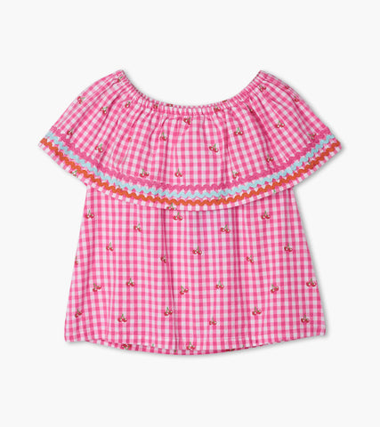Hatley Girls Cherry Bomb Frill shoulder top