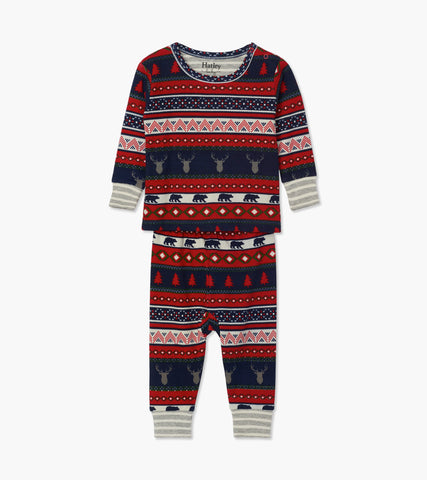 Hatley Fair Isle Stags Organic Cotton Baby Pyjamas