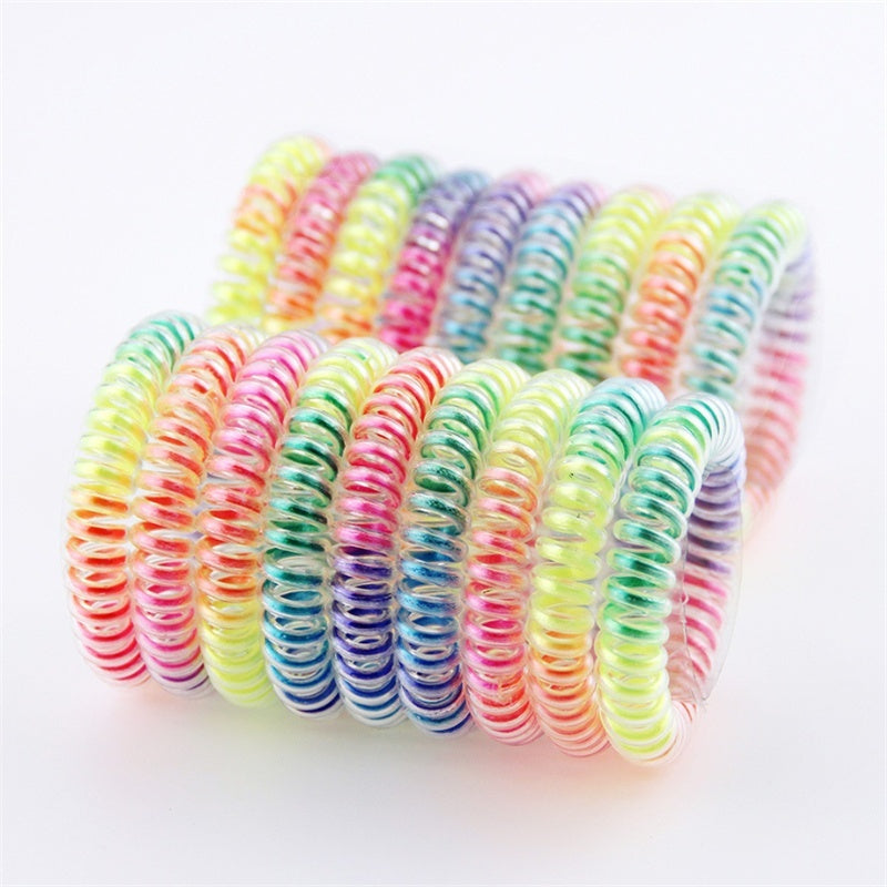 10Pcs/Pack Women Rubber Hair Rope Hair Ties Headwear Accessories Telephone Wire Line Headband Elastic Hairbands Spiral Shape