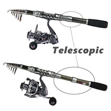 Load image into Gallery viewer, Carbon Fiber Telescopic Fishing Rod and 13+1BB Spinning Fishing Reel Combos with Accessories Line for travel Bass Outdoor fishing