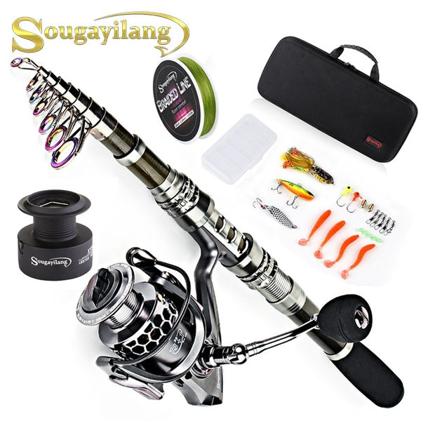 Carbon Fiber Telescopic Fishing Rod and 13+1BB Spinning Fishing Reel Combos with Accessories Line for travel Bass Outdoor fishing