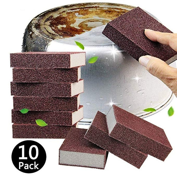 Carborundum Sponges Elite Emery Sponge Pots Cleaning Pads Carborundum Brush Rust Sand Scrubbers for Kitchen Cleaning Scouring Pads