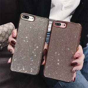Luxury Plating Glitter Diamond Case For iPhone XR X XS Max 8 7 Plus 6 6S Plus & Samsung Galaxy S7 Edge S10 S8 S9 Plus S10e 5G Note 8 9 & Huawei P20 30 Pro Lite Mate 20 Pro Soft Silicone TPU Shining Phone Back Cover