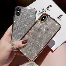 Load image into Gallery viewer, Luxury Plating Glitter Diamond Case For iPhone XR X XS Max 8 7 Plus 6 6S Plus & Samsung Galaxy S7 Edge S10 S8 S9 Plus S10e 5G Note 8 9 & Huawei P20 30 Pro Lite Mate 20 Pro Soft Silicone TPU Shining Phone Back Cover