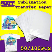 Load image into Gallery viewer, 50/100 Sheets A4 A3 Sublimation Transfer Paper For Polyester Cotton T- Shirt