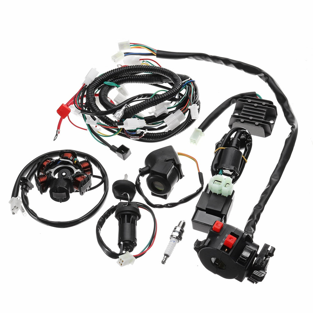 Full Electrics Wiring Harness Assembly Loom CDI Coil For GY6 150CC ATV Quad Go Kart