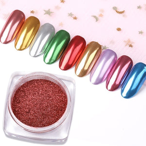 Nail Mirror Glitter Powder Metallic Color Nail Art UV Gel Polishing Chrome Flakes Pigment Dust Decorations Manicure