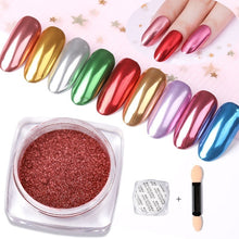 Load image into Gallery viewer, Nail Mirror Glitter Powder Metallic Color Nail Art UV Gel Polishing Chrome Flakes Pigment Dust Decorations Manicure