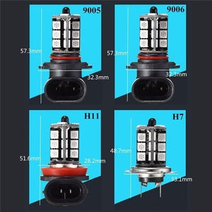NEW  2pcs Car Headlight Fog/Driving Light Car Lighting Bulb-5050 RGBW LED 27SMD 9005/9006/H11/H7+24 keys Remote Control Color Changing