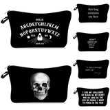 letter 3D Printed  Black Cool Cosmetic Bags Makeup Storage Women Skull Makeup Bag Beauty Gifts